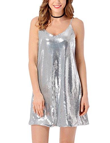 ACKKIA Women's V Neck Silver Sequin Sleeveless Sexy Mini Nightclub Loose Dress