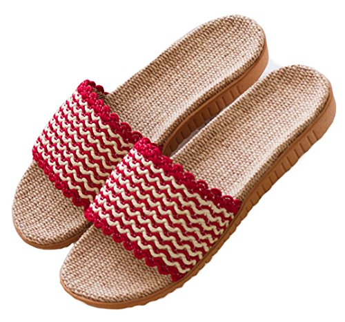Hoxekle Cute Men Women Non-Slip Hotel Bedroom Slippers Flax Rubber Sole Indoor House Youth Kids Slippers