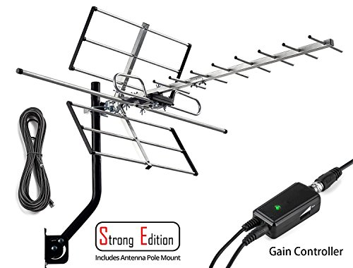 pingbingding Outdoor Antenna Digital Amplified HDTV Antenna with Mounting Pole & Adjustable Amplifier & 32FT Coaxial Cable, 120 Miles Range, Extremely High Performance for UHF and VHF by pingbingding