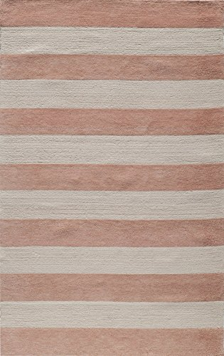 Momeni Rugs LMOINLMI-5PNK3050 Lil' Mo Classic Collection, Kids Themed 100% Cotton Hand Hooked Area Rug, 3' x 5', Pink - Damask Loop Hooked Rug