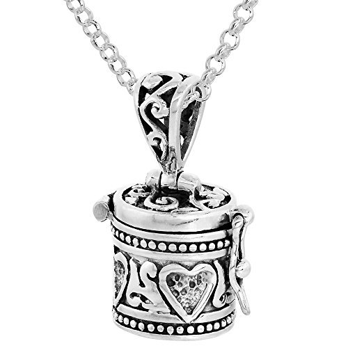 Sterling Silver Prayer Box Necklace Heart Design, 1/2 inch 18 inch Chain Rol_1 (Necklace Silver Sterling Prayer Box)