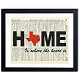 Texas Home Is Where The Heart Is Upcycled Vintage Dictionary Art Print 8x10