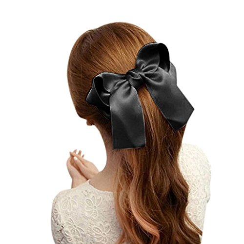 Coromose Women Girls Cute Large Big Satin Hair Hair Clip Boutique Ribbon Bow (Black)