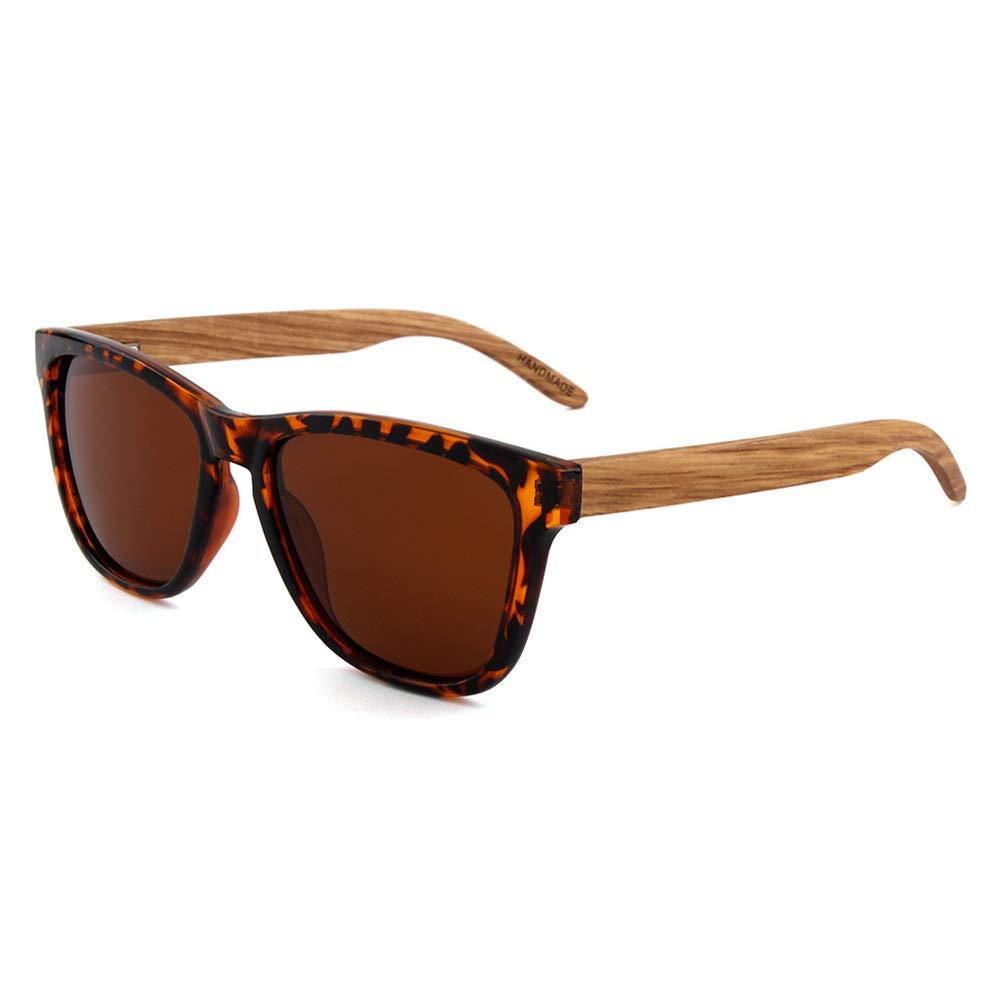 Wooden Polarized Leopard Keyhole Square Frame Sunglasses