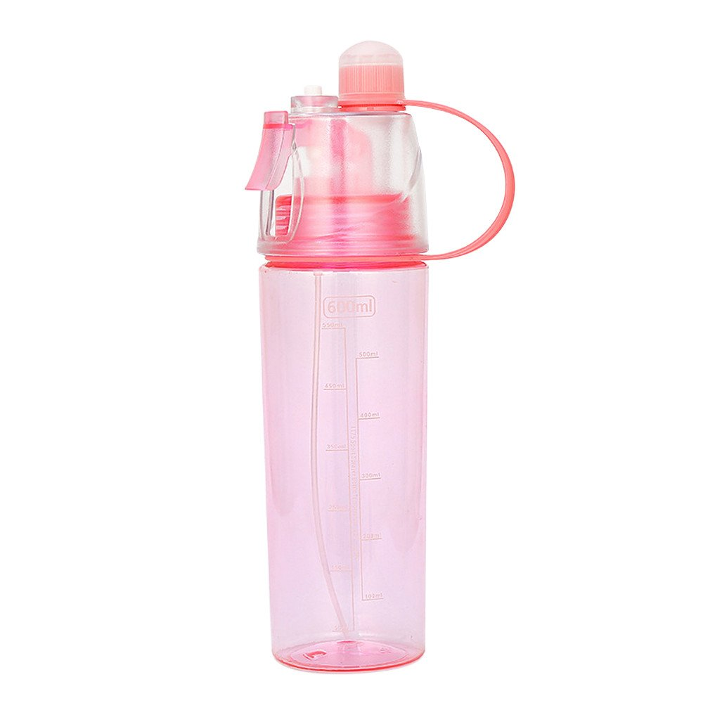 Summer Mist Spray Water Bottle Sport Cycling Sports Gym Beach Leak-Proof Drinking Cup (Red, M(600ml, 26cm Height))