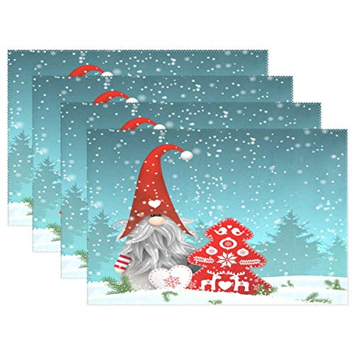 Lovely Sprite Christmas Gnome Standing Snowfall Placemats Set of 4 Table Mat, Merry Christmas Red Tree Snowflake Table mats Placemats Heat-resistant Stain Resistant Washable for Kitchen Dining Decora