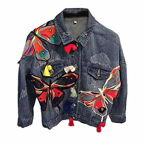 Women Basic Coats Butterfly Embroidered Patch Blue Bomber Jacket Tassel Denim Jacket Spring Autumn Denim Jackets Female L181 Butterfly Jean Jacket