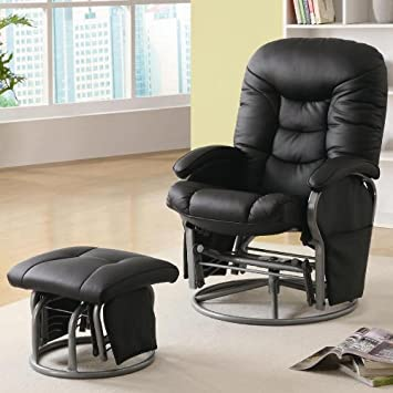 2pc modern swivel rocking gliding recliner chair with ottoman in black leatherette item