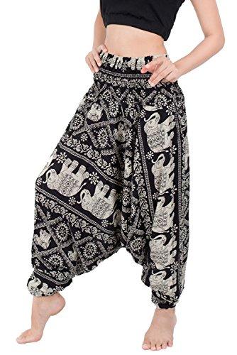 - Banjamath Women's Peacock Print Aladdin Harem Hippie Pants Jumpsuit (M, Elephant Black)