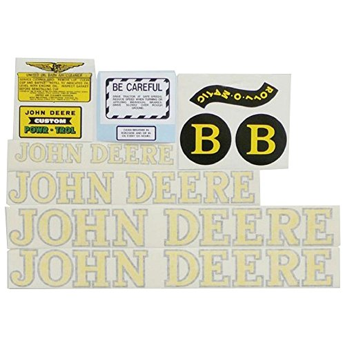 Complete Decal Set for John Deere B Style 1940-1952 Tractor Vinyl Yellow ()