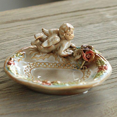 Saideke Home vintage ceramic angel Cherub soap dish bathroom soap holder
