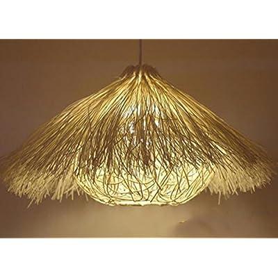 LoveScc Personnaliser votre accueil Restaurant Salon Chambre à coucher Meubles de cuisine personnalité créativité lustres Bird's Nest simple tissage en rotin blanc chapeau M dia.40cm