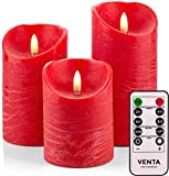 "Venta Set of 3 Realistic Flameless Red LED Candles with Remote Control - 4"" 5"" 6"" Electric Wickless Pillar Battery Operated Candles with Flickering Flame Timer"