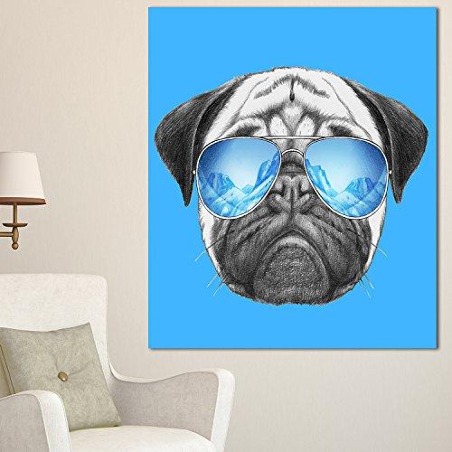 Design Art Pug Dog with Mirror Sunglasses Animal on Canvas Art Wall Photgraphy Artwork Print by Design Art