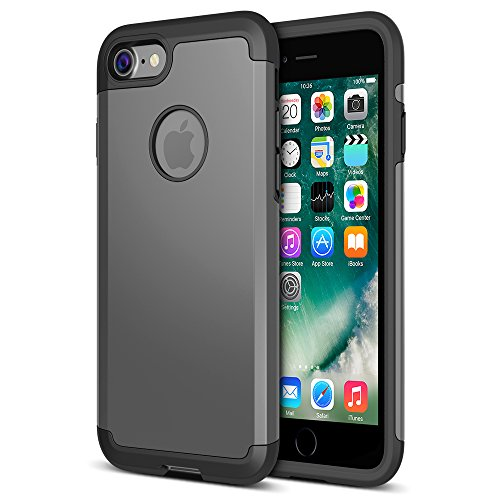 iPhone 7 Case, UNU [UShield Series] Ultra Protective Case For Apple iPhone 7 (2016) 4.7 inch Dual Layer + Shock-Absorbing Hard Bumper Cover (NOT Compatible with iPhone 6/6s) - Metallic Grey