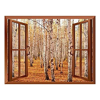 Premium Product, Marvelous Expert Craftsmanship, Autumn Birch Forest Removable Wall Sticker Wall Mural