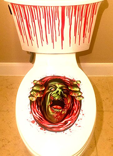 Toilet Costume Prank Seat (2-pack Halloween Bathroom Decal Decorations Scary Toilet Blood Bathroom Kit)