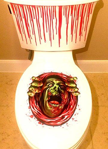 Seat Costume Toilet Prank (2-pack Halloween Bathroom Decal Decorations Scary Toilet Blood Bathroom Kit)