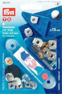 PRYM 265811 Hooks and bars for trousers Size 13mm, 4 pieces (Toko System)