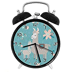 Lovely Llama Twin Bell Alarm Clock,Battery Operated Loud Alarm Clock,Silent Desk Clock Nightlight Home Decoration Metal Alarm Clock、