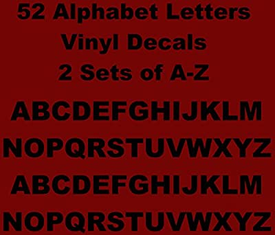 Games&Tech Alphabet A-Z Lettering Vinyl Decals Sticker 2 Sets of 26 A-Z Letters 52 Letters - 0.5 inch letter size - Black Color