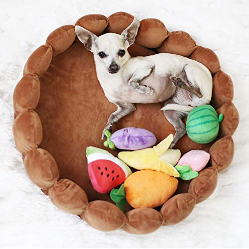 funny supply Pet Cushion Bed with Squeaky Toys Winter Plush Nest Kennel Lovely Tart Warm Comfortable Dog Mat Pad Cat Mat