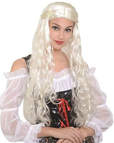 Ladies Long White Dragon Queen Thrones Game Khaleesi TV Book Film Medieval Historical Renaissance Halloween Fancy Dress Costume Outfit Wig -