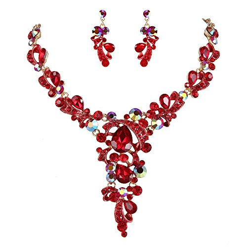(BriLove Women's Wedding Bridal Statement Necklace Dangle Earrings Jewelry Set Crystal Leaf Vine Teardrop Hollow Design Ruby Color Gold-Tone)