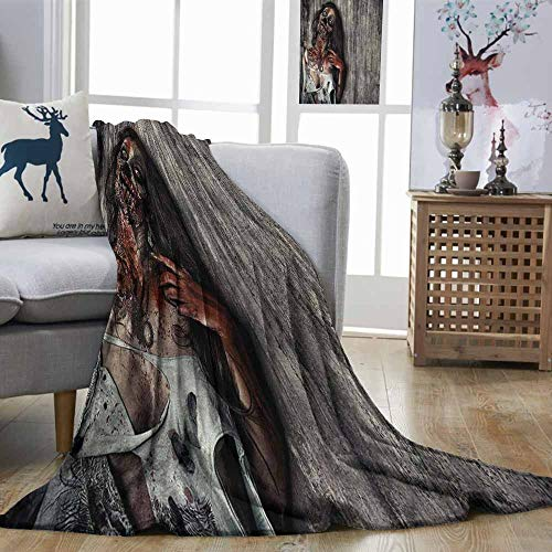 Zombie Anti-Wrinkle Blanket Angry Dead Woman Sacrifice Fantasy Design Mystic Night Halloween Image Suitable for Camping, Travel Dark Taupe Peach Red W70 xL93 -