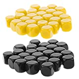 Fenteer 50Pcs Blank Six Sided D6 Dices for Black & Yellow D&D RPG Counting Cubes Board Game Favours