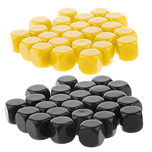 Fenteer 50Pcs Blank Six Sided D6 Dices for Black & Yellow D&D RPG Counting Cubes Board Game Favours by Fenteer