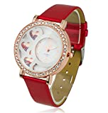 Rhinestoned 3 Hearts Watch with Seed Beads Inside With Metalic Red Band EX-Ocean-A