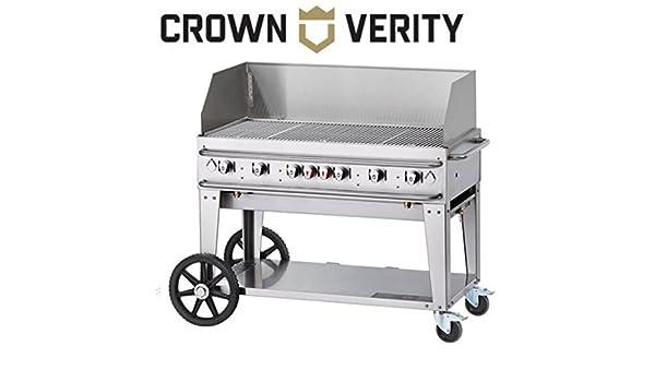 Crown Verity CV-RCB-48-WGP - Parrilla de propano líquido con capacidad para 99000 BTU (2 ruedas de 14 pulgadas, 2 ruedas en total): Amazon.es: Jardín