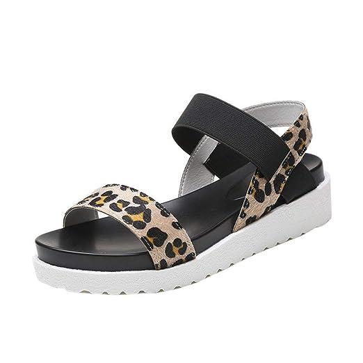 Zilosconcy Sandalias Romanas Planas Simples de Mujer Cuero Envejecido Zapatillas Plataforma Impermeable Moda Zapatos de Suela Gruesa Antideslizante para ...