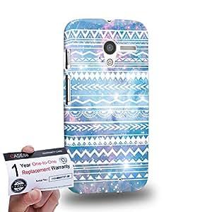 Case88 [Motorola Moto X (1st Gen)] 3D impresa Carcasa/Funda dura para & Tarjeta de garantía - Art Aztec Design Galaxy Overlay Blue Mix