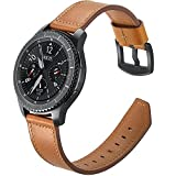 Aottom Gear S3 Frontier Bands, [22MM] Samsung Gear S3 Classic Leather Band Replacement Band Wrist Band Stainless Steel Buckle Bracelet Wristband for Samsung Gear S3/Moto 360 2nd Gen 46mm - Brown