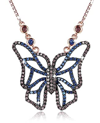 Gemmance Purple Butterfly Necklace Amethyst Pink Pendant Women Necklace Made with Swarovski Crystals Gifts for Her