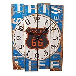 MISUE 15.3-INCH Country Style Rustic Style Square Wood Wall Clock Indoor Vintage Wall Clock Retro Decor