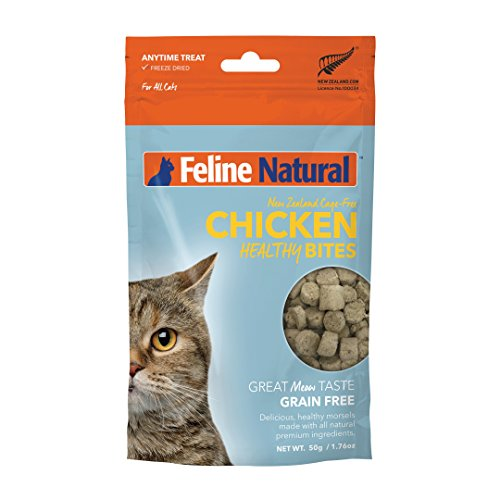 Freeze Dried Cat Treats by Feline Natural - Perfect Grain Free, Healthy, Hypoallergenic Limited Ingredients Snacks for All Cat Types - Raw, Freeze Dried Treats - Natural Chicken Bites - 1.76oz Pack
