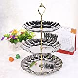3 Tier Cake Stand Round Fruit Cake Plate Fruits Cakes Desserts Candy Buffet Stands with Dome Display Holder Handle For Wedding Home Party Room Hotel (Silver(3-Tiered))