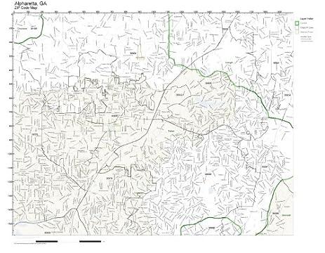 Amazoncom ZIP Code Wall Map of Alpharetta GA ZIP Code Map