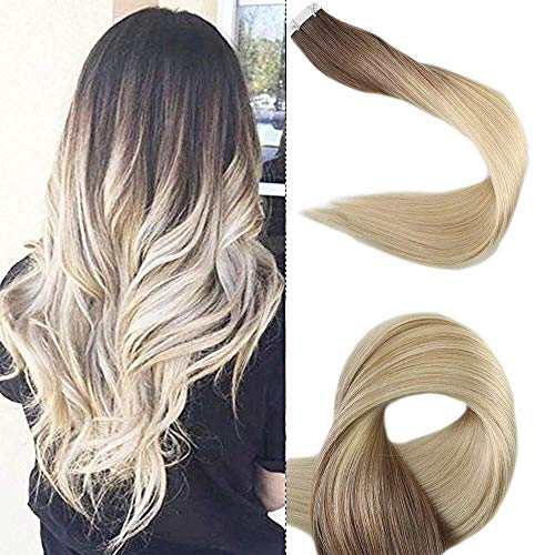 [Promotion] Full Shine 20 Dip Dyed Extensions Ombre Tape Extensions Human Hair Ombre Balayage Hair Extensions Human Hair Dip Dye Ombre Color 3 With 8 Brwon Fading To 613 Blonde 50Gram 20 Pcs Per Pack