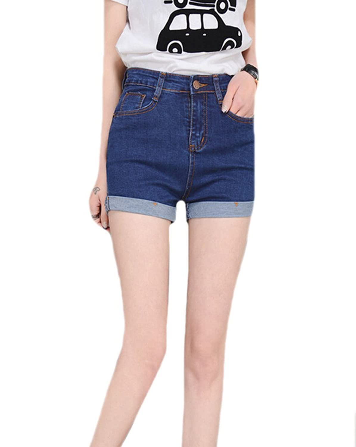ASL Womens Stretchy Crimping High Rise Pocket Jeans Shorts