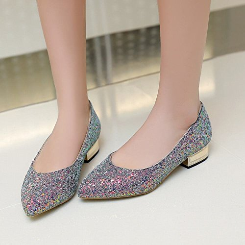 Latasa Womens Fashion Sequins Pointed-toe Low Heel Chunky Dress Pumps Shoes Blue nK9ID4