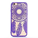 HMILY® Henna Mandala Flower Pattern Feathery Pattern Baroque Retro Court Lace Pattern Texture Hard Plastic Clear Back Cover For iPhone 6Plus And iPhone 6S Plus (Purple)