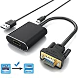 VGA to HDMI, Vilcome Gold-Plated 1080P Full HD VGA to HDMI Audio Video Converter Adapter cable With USB Cable Support HDTV for PC Laptop Display Computer Mac Projector and more