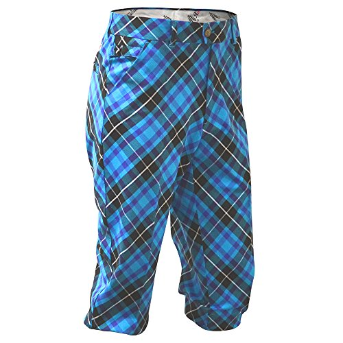 (Royal & Awesome Blue Plaid Trews Argyle Mens Golf Knickers,Blue-plaid-trews,36 inches Waist - 91 Cm)