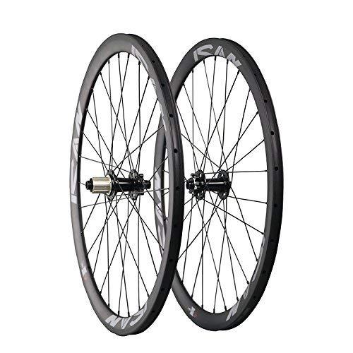 - ICAN Road Bike Disc Brake Wheelset Carbon Clincher 38mm Depth 23mm Width 28 Holes Shimano 10/11 Speed Thru Axle 100x15mm/142x12mm