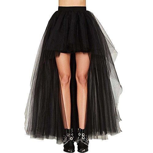 Oliveya Womens Plus Size Hi-Lo Tulle High Waist Tutu Party Maxi Skirt Black -