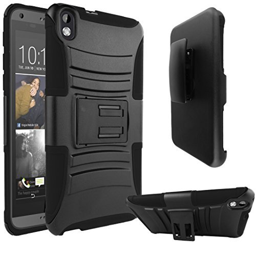 HTC Desire 816 Case, ATUS HTC Desire 816(Virgin mobile) Armor Series - Heavy Duty Dual Layer Holster Case Kick Stand with Locking Belt Swivel Clip + Free Premium Screen Protector -